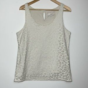 LOFT  Large Sleeveless Crochet Top Keyhole Back